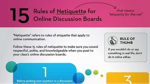 [Infographic] 15 Rules of Netiquette for Online Discussion Boards